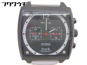 ◇ FrancTemps フランテンプス 動作未確認 クォーツ クロノグラフ ARMAND 腕時計 ウォッチ ブラック ホワイト メンズ