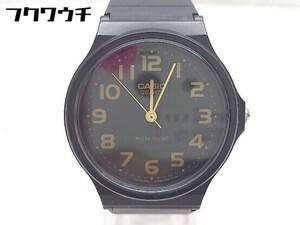 ◇ CASIO チープカシオ 動作未確認 クォーツ 3針 MQ-24-1B2 腕時計 ウォッチ ブラック ゴールド メンズ