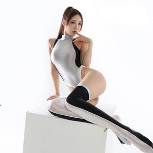 2020年秋 今期最新作 上下セット コスプレ衣装 ハイレグレオタード レースクイーンレオタード ホワイト フリーサイズ