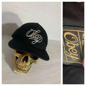 Obey オベイ ロゴ 立体チェーン刺繍 黒 ベースボールキャップ 野球帽子 ブラック ONE SIZE FITS ALL フリーサイズ
