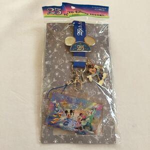 ファストパスホルダー ネックストラップ ピンバッジ バッヂ バッチ ファンキャップ 25周年 新品 東京ディズニーランド ミッキーマウス