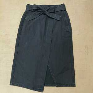 ユーズド★gu 巻きスカート風デニムタイトスカート M ブラック