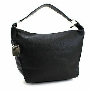 フルラ ワンショルダーバッグ レザー ブラック 中古 Aランク FURLA |レディース 女性用 肩掛け 通勤 通学 シルバー金具 保存袋付き