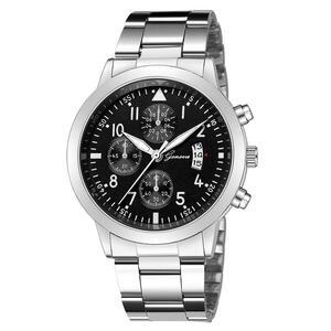 メンズ腕時計レロジオmasculinoステンレス鋼のカレンダーの時計男性ファッション軍事スポーツクォーツ腕時計リロイhombre zegarek meski