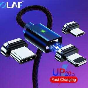 オラフ 2 メートル磁気マイクロ USB ケーブル Iphone サムスン急速充電データワイヤーコードマグネット充電器 Usb タイプ C 3A 携帯電話ケ