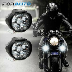 【★★新品★★】2個オートバイヘッドライト6500 18kホワイト超高輝度6 LED作業スポットライトバイクフォグランプ1200LM スクーター