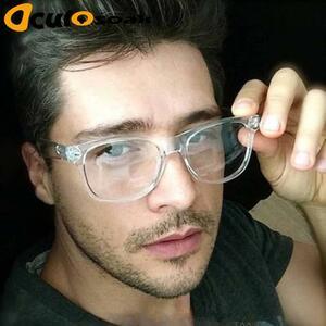 2019 レトロ男性の透明メガネクリアレンズpc comotuer正方形眼鏡フレーム女性メガネ男性眼鏡