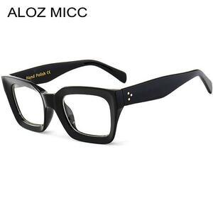 Aloz micc黒フレーム正方形透明メガネ女性レトロアセテート男性眼鏡クリアレンズメガネフレームQ263