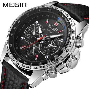 Megirメンズ腕時計トップブランドの高級クォーツ時計男性ファッション発光軍防水メンズ腕時計レロジオmasculino 2019