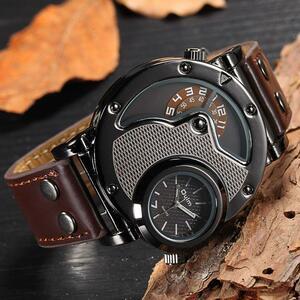 Oulm二タイムゾーンスポーツ腕時計軍事陸軍メンズカジュアルpuレザーストラップアンティークデザイナークォーツ時計男性時計