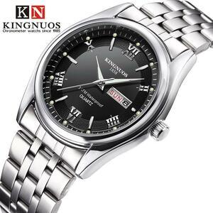 【★★新品★★】レロジオ masculino 高級ブランドステンレス鋼アナログ表示日付ウィーク防水メンズクォーツ時計ビジネスの男性の腕時計