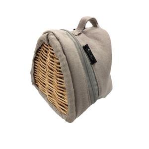 ランチバッグ おにぎり型 キャンバス×柳 保冷&保温バッグ グレー
