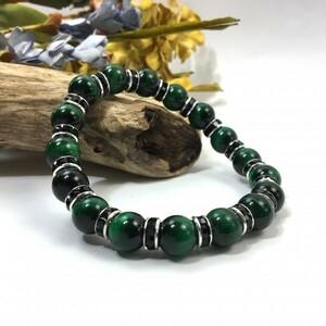 Green Tiger Eye Power Stone Bractelet 10mm мужская левая (Лондоль: черный) Удачи Несколько бусин