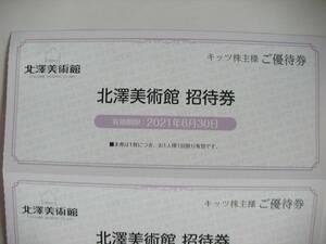 キッツ株主優待券 北澤美術館無料招待券2枚