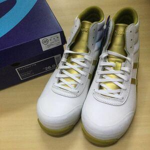 G asics アシックス 安全靴 作業靴 ウィンジョブ 71S 26cm ホワイト×ゴールド 本革 JIS規格