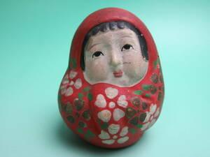 A 294 ☆ 古い 土人形 ミニ姫だるま ☆ 検)泥人形 達磨 ダルマ 商売繁盛 郷土玩具 おもちゃ 時代物 ヴィンテージ レトロ アンティーク