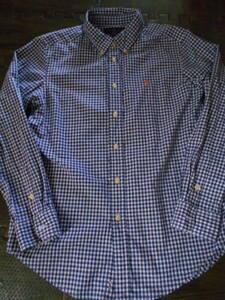 ★ラルフ★160cm 紺×白のギンガムチェックの長袖ボタンダウンシャツ 送料215円 美品