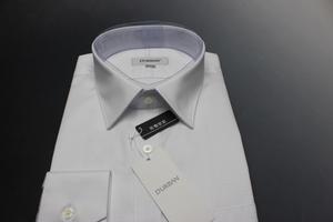 \9790/新品ダーバンD'URBAN 綿100% 形態安定/レギュラーカラー/幾何学/ドビードレスシャツ長袖 42-84 白/3700221110(2F421