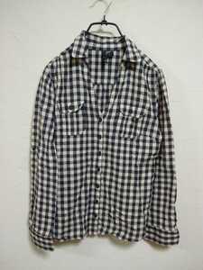 H&M チェック シャツ 38 ギンガムチェック 良品 ブラック ベージュ 綿100% エイチアンドエム シャツ