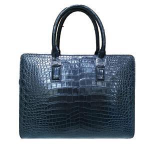 高品質※ワニ革 クロコダイル 腹部センター取り レザー 本革 ブリーフケース トートバッグ 手提げ 鞄 メンズ ビジネス PC対応 ハンドバッグ