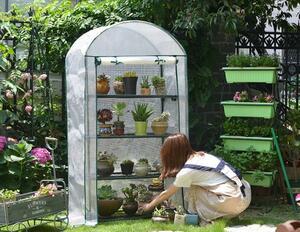 新入荷 家庭用 小型 PE素材 温室 ビニールハウス 温室棚 4段 巻き上げ式 家庭菜園 農業 園芸 温室フラワーラック 栽培 野菜 植木鉢 植物 花