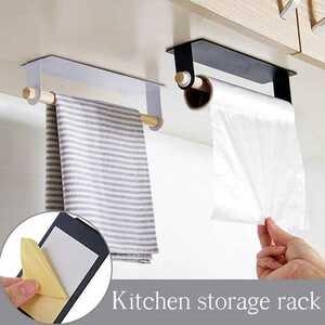 キッチン自己粘着ロール 紙ホルダータオル収納ラック ティッシュハンガー キャビネット棚浴室 トイレットペーパーホルダー
