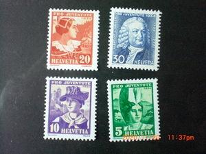 児童福祉切手ーアルブリヒト・ハレーと女性衣装 4種完 未使用 1934年 スイス共和国 VF/NH 寄付金付き