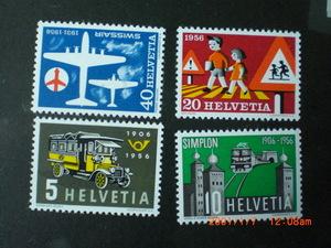 1956年の記念切手ースイス最初のポストバス他 4種完 未使用 1956年 スイス共和国 VF/NH