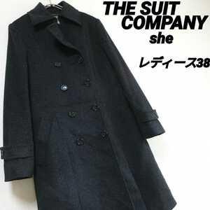 スーツカンパニー THE SUIT COMPANY SHE レディース 38 濃グレー ウール ロングコート ビジネス 大人カジュアル 大人女子 古着女子●R10