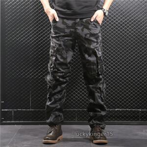 カーゴパンツ メンズ ミリタリーパンツ ワークパンツ 迷彩柄 スキニーパンツ ロングパンツ ストレート カジュアル ブラック 30