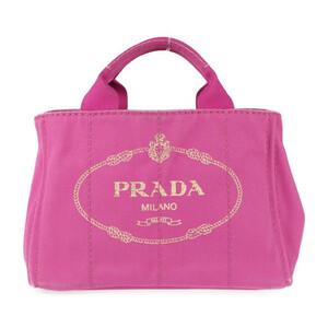 美品 PRADA プラダ ミニカナパ 1BG439 ハンドバッグ キャンバス ピンク 2way【本物保証】