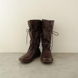 ■トリッペン trippen *ひも付きレザーロングブーツ*23.5ダークブラウン皮革靴レースアップシューズ1120【32K02】