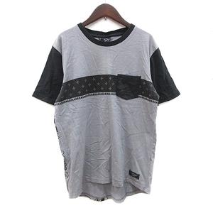 エドハーディー Ed Hardy STREET Tシャツ カットソー 半袖 クルーネック バックプリント 切替 L グレー 黒 ブラック /CT メンズ