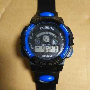 ◆デジタル腕時計 防水腕時計 スポーツウォッチ ストップウォッチ機能付 30M防水 ブルー