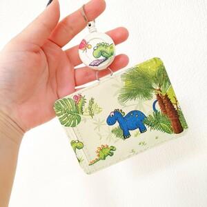 パスケース 定期入れ カードケース リール付き 恐竜