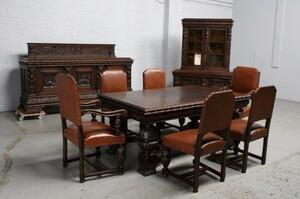 品番1695ヨーロッパ市場在庫品アンティーク家具ダイニング9点セット現地在庫商品1920年代ベルギー原産オーク製