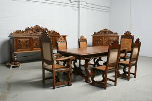 品番1391現地在庫販売スペイン原産アンティーク家具ウォールナット製ダイニングルーム9点セット1940年