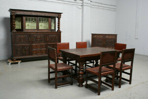 品番2026ヨーロッパ市場在庫品アンティーク家具ダイニング9点セット現地在庫商品1920年代ベルギー原産オーク製