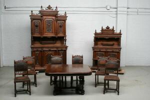 品番3650現地在庫販売フランス原産アンティーク家具ウォールナット製ダイニングルーム9点セット1890年