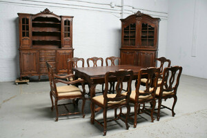 品番7302ヨーロッパ市場在庫品アンティーク家具ダイニング11点セット現地在庫商品1900年代フランス原産オーク製