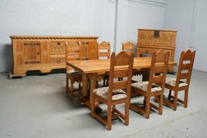 品番7392現地在庫販売ベルギー原産アンティーク家具オーク製ダイニングルーム9点セット1940年