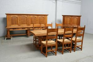 品番6905ヨーロッパ市場在庫品アンティーク家具ダイニング9点セット現地在庫商品1920年代フランス原産オーク製