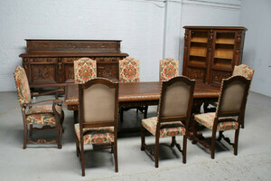 品番5407現地在庫販売ベルギー原産アンティーク家具オーク製ダイニングルーム11点セット1920年
