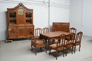 品番2327ヨーロッパ市場在庫品アンティーク家具ダイニング11点セット現地在庫商品1900年代ベルギー原産オーク製