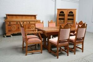 品番6743ヨーロッパ市場在庫品アンティーク家具ダイニング9点セット現地在庫商品1940年代ベルギー原産オーク製