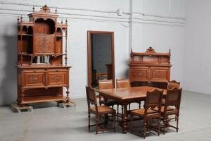 品番8023ヨーロッパ市場在庫品アンティーク家具ダイニング10点セット現地在庫商品1900年代ベルギー原産ウォールナット製