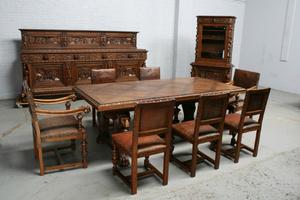 品番6572aヨーロッパ市場在庫品アンティーク家具ダイニング10点セット現地在庫商品1920年代ベルギー原産オーク製
