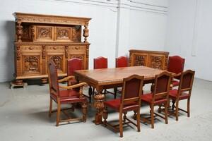 品番1424現地在庫販売ベルギー原産アンティーク家具オーク製ダイニングルーム11点セット1920年