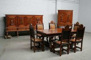 品番3831現地在庫販売フランス原産アンティーク家具ウォールナット製ダイニングルーム9点セット1940年
