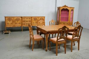 品番6438ヨーロッパ市場在庫品アンティーク家具ダイニング9点セット現地在庫商品1920年代ベルギー原産オーク製